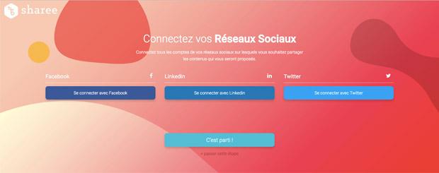 Connectez vos réseaux sociaux à la plateforme Sharee